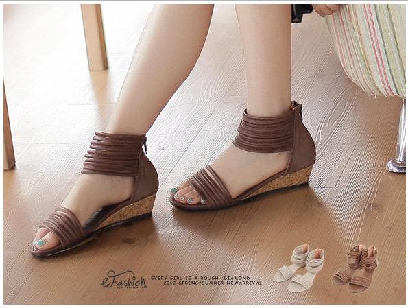 *eFashion*【DP137018】HAZYbeauty.個性風潮後拉鍊繞帶低跟涼鞋-2色35~39 現+預 - Yahoo! 奇摩拍賣-193346