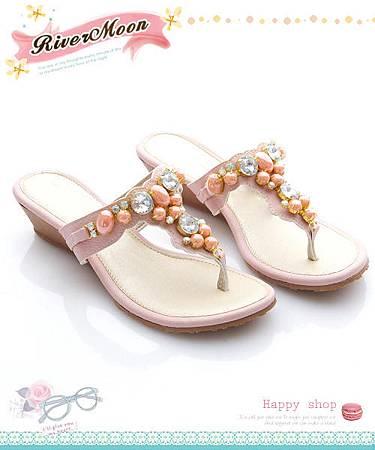 ★River&Moon★台灣製亮鑽寶石寬版Q軟夾腳楔型涼鞋