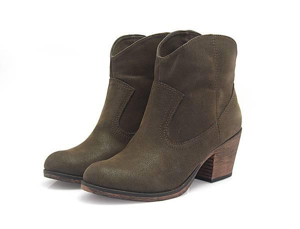 米娜小鋪 秋季新款短靴 歐美圓頭複古粗跟中跟踝靴韓版女式靴子00