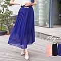 【五折價$315】☆東京著衣☆【MAYUKI】雪紡紗荷葉鬆緊長裙