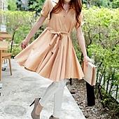 公主袖蝴蝶結綁帶傘型雪紡洋裝-粉(38)