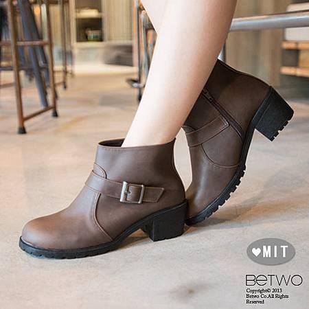 彼兔 betwo.低跟短靴MIB*率性素色皮革側釦環拉鍊低跟短靴MIT.jpg
