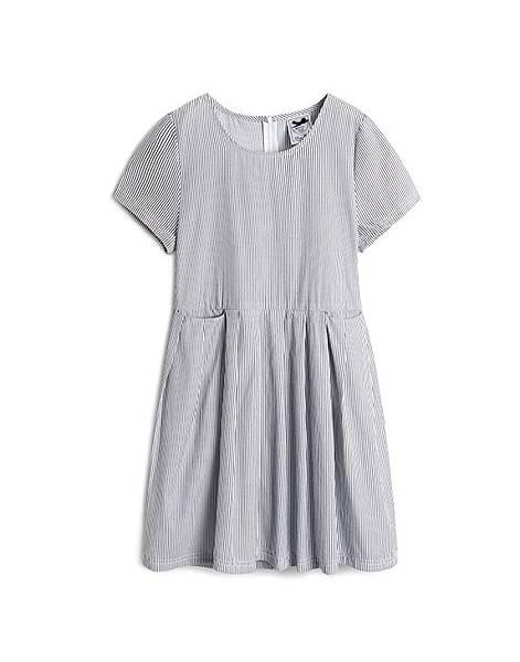 可愛復古直條紋雙口袋短袖洋裝.jpg