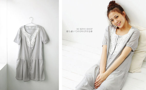 前鏤空編織蕾絲 點點織紋 短袖洋裝.jpg