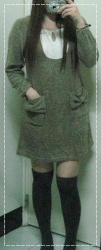 雅型淑女領口蕾絲蝴蝶結口袋連身洋裝-可可-石川.JPG