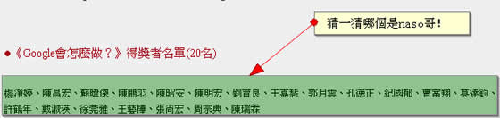 naso 哥,在六月16日的時候,參加了Google的部落格活動。