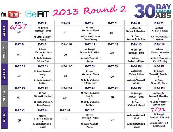 30 DAY 6-Pack ABS Schedule - 2013 Round 2