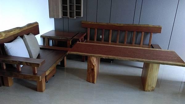 原木沙發+原木泡茶桌-柚木沙發+花梨泡茶桌