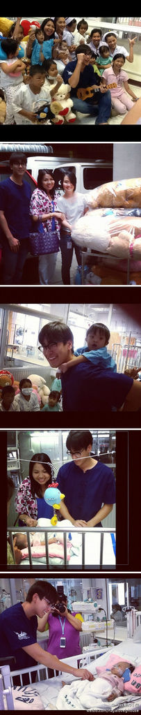 Nadech和媽媽今天去醫院看望患病兒童,na還帶上了尤克里裡琴啊,真是有愛心的母子