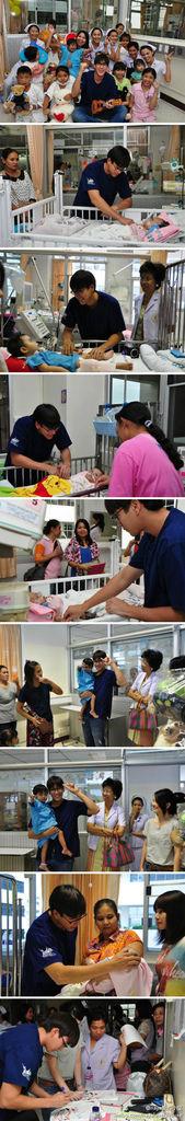 nadech和媽媽昨天去詩麗吉王后國家兒童康復醫院探望患病兒童~~~超有愛心的母子兩~~~
