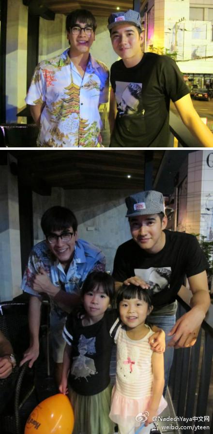 8月23日晚Nadech和好兄弟Mario在曼谷Hard Rock Cafe吃牛排