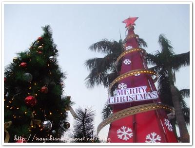 水晶球旁邊的聖誕樹