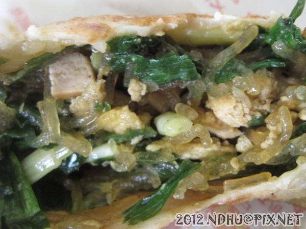 20120116_台九餡餅蔥油餅_韭菜盒內餡特寫