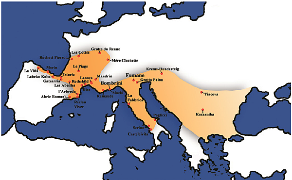 Geographical distribution of the Protoaurignacian