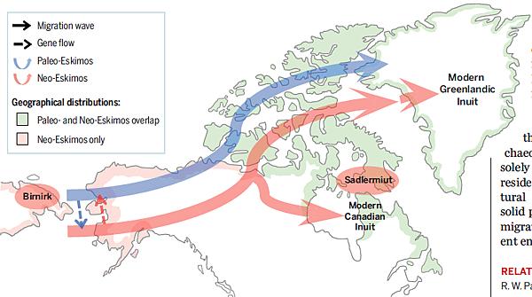 Genetic origins of Paleo-Eskimos and Neo-Eskimos