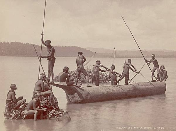 Group_of_Andaman_Men_and_Women_in_Costume,_Some_Wearing_Body_Paint_And_with_Bows_and_Arrows,_Catching_Turtles_from_Boat_on_Water