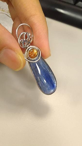 藍晶石銀墜
