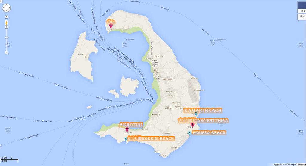 聖托里尼全地圖