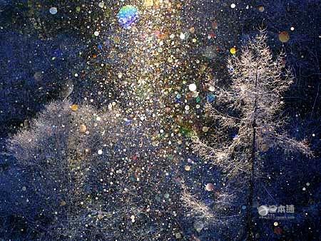 鑽石粉灑落的雪景