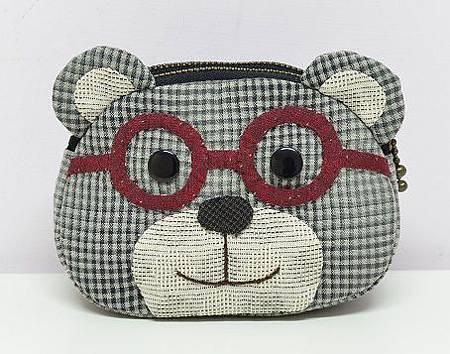 眼鏡小熊雙拉鍊錢包01