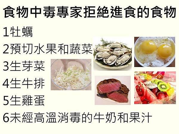 食物中毒專家拒絶進食的食物