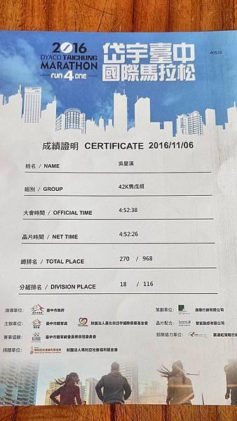 岱宇臺中國際馬拉松-獎狀
