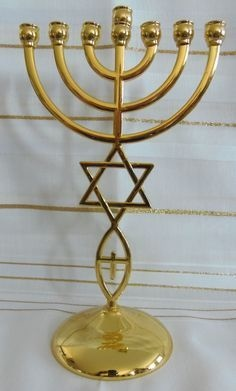 Gold Messianic Hebraic Roots Seven Branch Temple Menorah  9 inches Tall