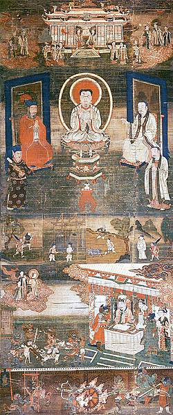 Sermon_on_Mani's_Teaching_of_Salvation._Cathayan_Manichaean_silk_painting,_13th-century