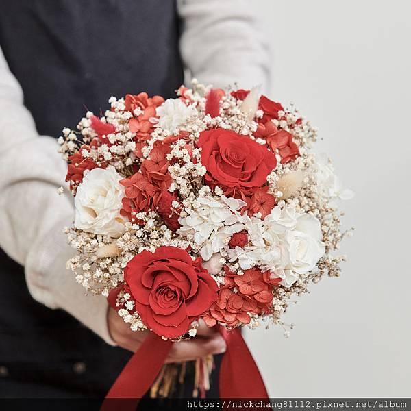 新娘捧花 婚紗捧花 乾燥花 不凋花 經典浪漫喜氣紅|圓形
