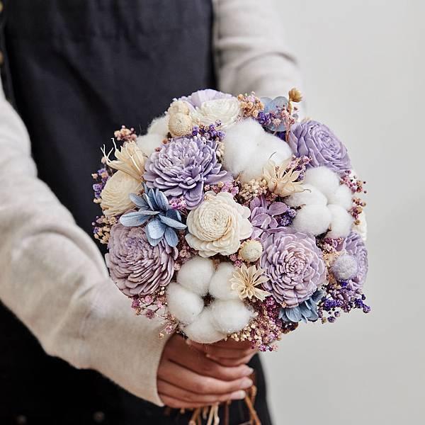 新娘捧花 婚紗捧花 不凋花 田園風 基本款紫色系| 圓形放射形