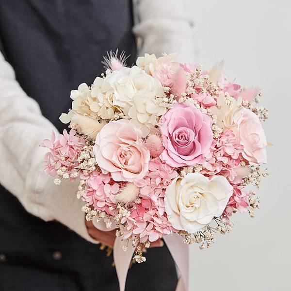新娘捧花 婚紗捧花 乾燥花 不凋花 經典浪漫甜美粉|圓形