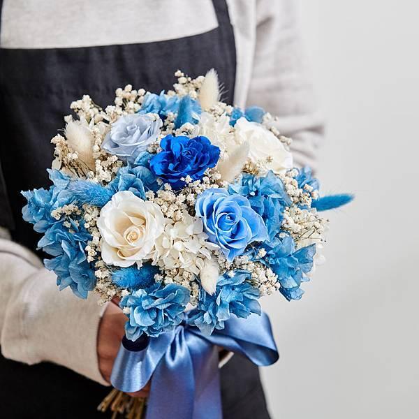 新娘捧花 婚紗捧花 乾燥花 不凋花 經典浪漫海洋藍|圓形