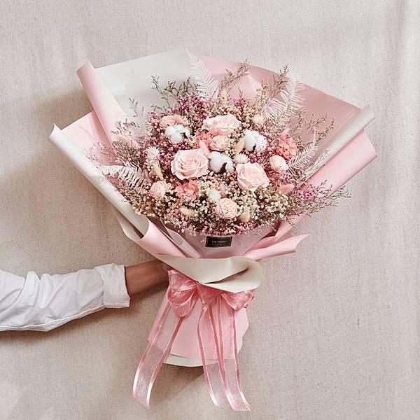 經典浪漫粉乾燥花束 不凋花 永生花 告白花束 情人節禮物 求婚花束 特大型花束