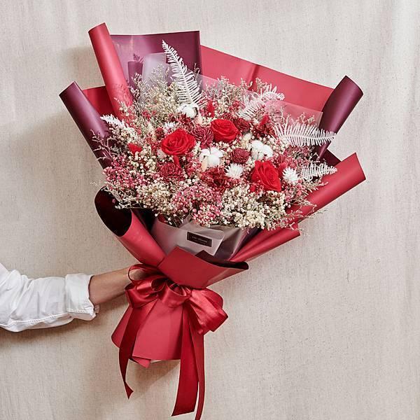 經典浪漫紅乾燥花束 不凋花 永生花 告白花束 情人節禮物 求婚花束 特大型花束