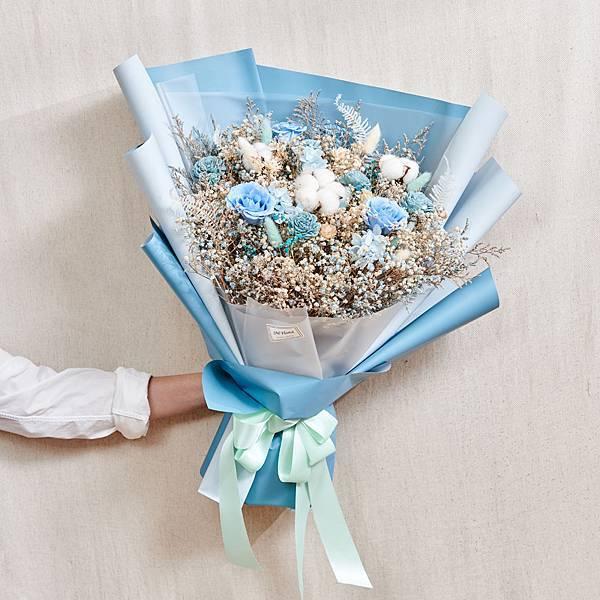經典浪漫藍乾燥花束 不凋花 永生花 告白花束 情人節禮物 求婚花束 特大型花束