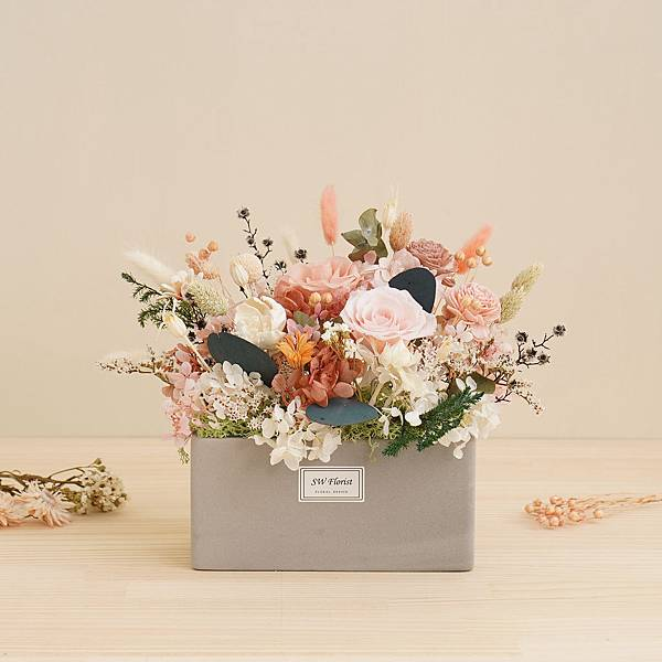 嫩粉色香檳粉 四季田園永生花盆栽 乾燥花盆栽 桌花設計 大型桌花
