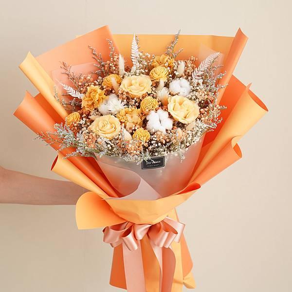 經典哈密瓜橙乾燥花束 不凋花 畢業花束 情人節禮物 求婚花束 特大花束