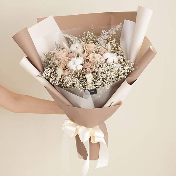經典奶茶色乾燥花束 不凋花 畢業花束 情人節禮物 求婚花束 特大花束
