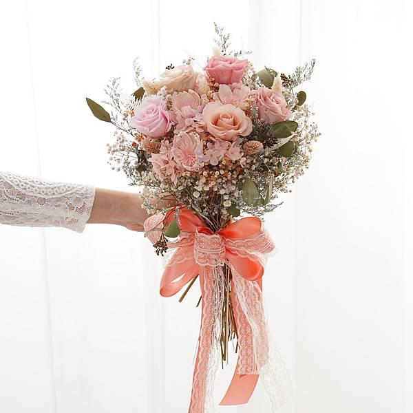 新娘捧花 永生花婚紗捧花 乾燥花 夢幻繽紛粉色系|日式放射形 人氣款式