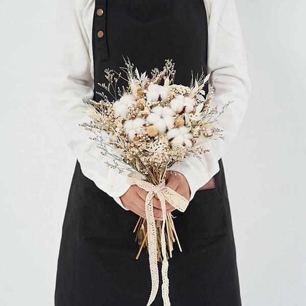 新娘捧花 婚紗捧花 乾燥花 雪白色系 美式風格 棉花限定款|放射形