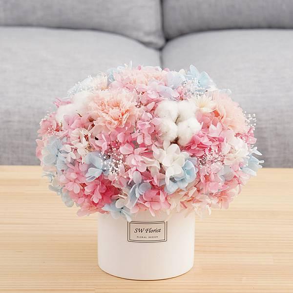母親節推薦款式 甜蜜糖果夢幻色系 圓形 大型桌花 白盆