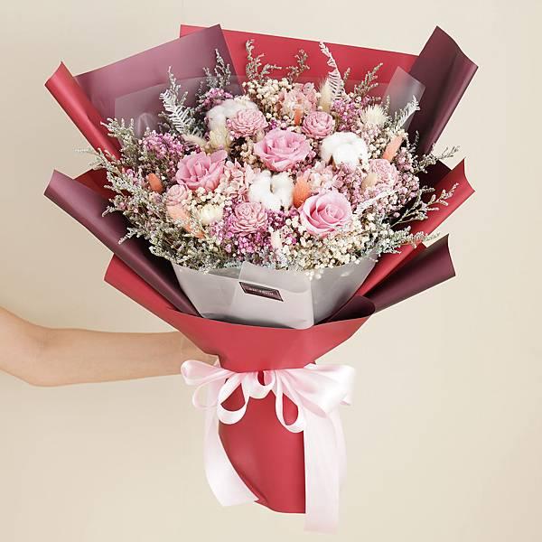 |紅粉知己乾燥花束 不凋花 畢業花束 情人節禮物 求婚花束 特大花束|