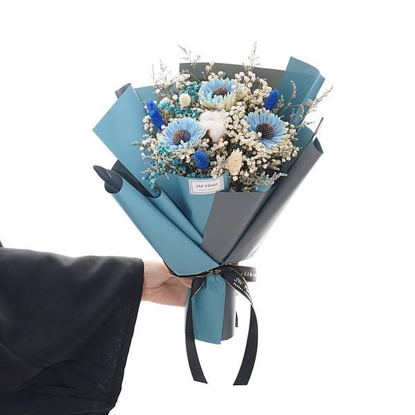 |鵬程萬里 水藍向日葵 乾燥花束 畢業花束 中型花束|