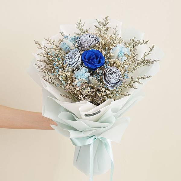 美式浪漫藍乾燥花束 不凋花 畢業花束 情人節禮物 求婚花束 大型花束