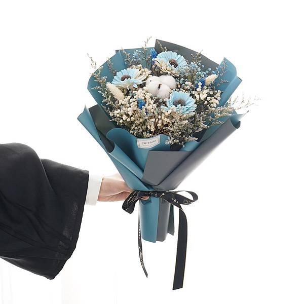 一帆風順 淺藍向日葵 乾燥花束 畢業花束 中型花束