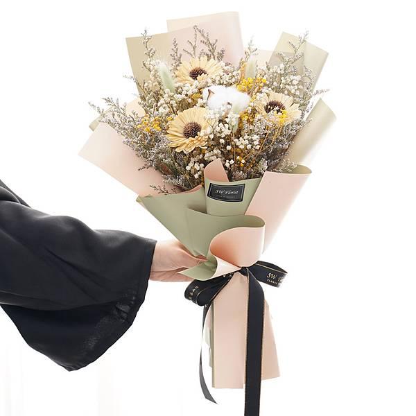 名列前茅 經典黃向日葵 乾燥花束 畢業花束 中型花束