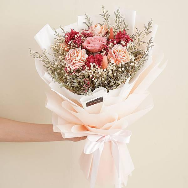 美式夢幻粉乾燥花束 不凋花 畢業花束 情人節禮物 求婚花束 大型花束