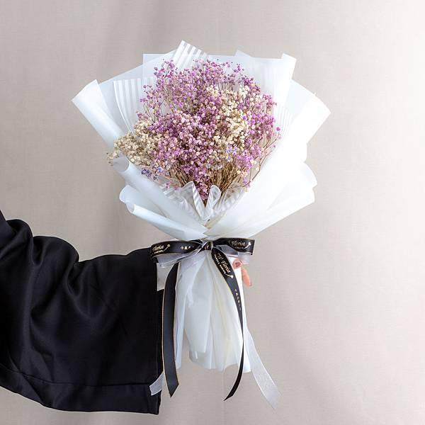 年輕人的最愛 白色包裝紫色滿天星乾燥花束 情人節花束 畢業花束 大型花束