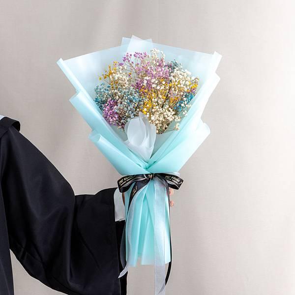 年輕人的最愛 藍色包裝彩色滿天星乾燥花束 情人節花束 畢業花束 大型花束