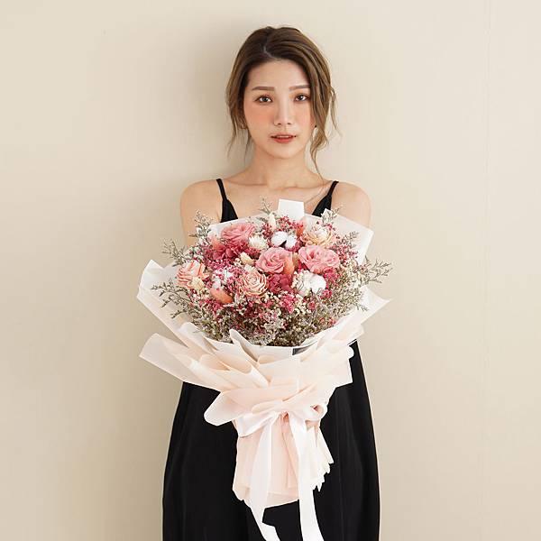 美式夢幻粉乾燥花束 不凋花 畢業花束 情人節禮物 求婚花束 特大花束